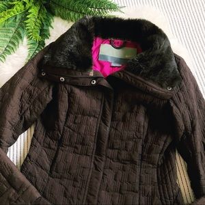 Nike Brown Quilted Faux Fur Collar Jacket